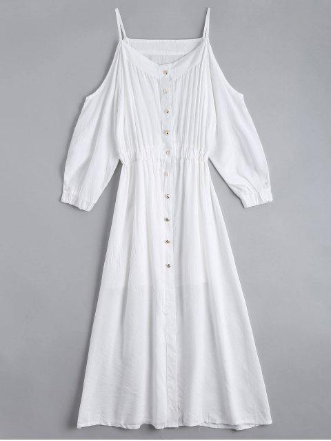 Vestido de camisa de cami de hombro frío con la parte superior del tubo - Blanco L Mobile