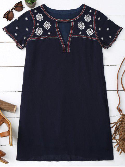 Floral bordado mini vestido de túnica - Azul Purpúreo S Mobile