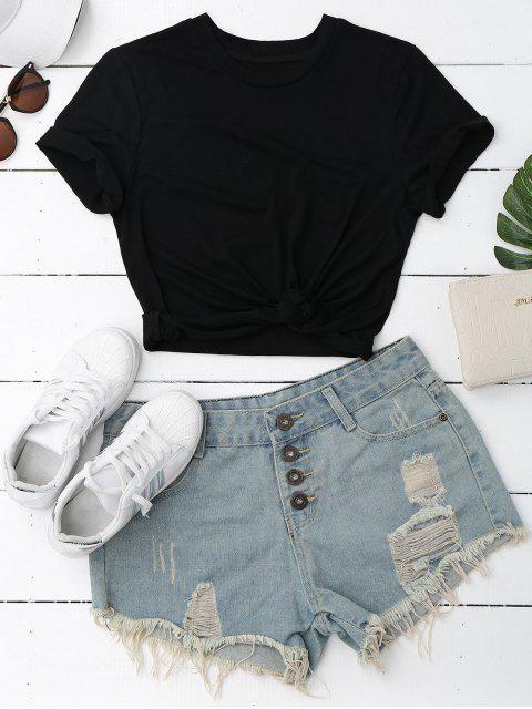 hot Short Sleeve Plain T-Shirt - BLACK L Mobile