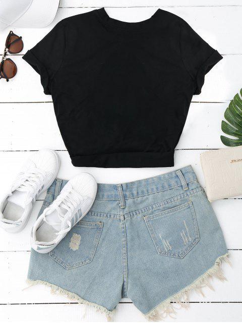 T-shirt simple à manches courtes - Noir L Mobile