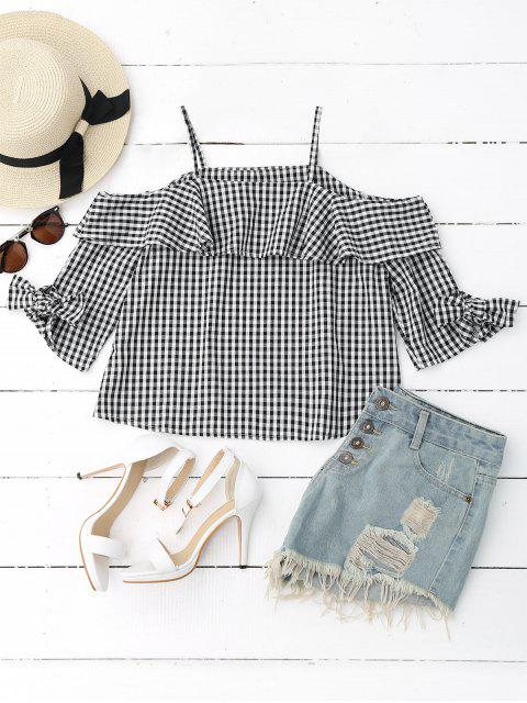 women's Ruffles Off Shoulder Cami Plaid Blouse - CHECKED M Mobile