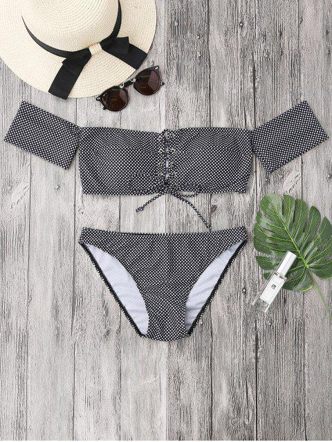 Dotted Lacing Off el conjunto de bikini hombro - Blanco y Negro S Mobile