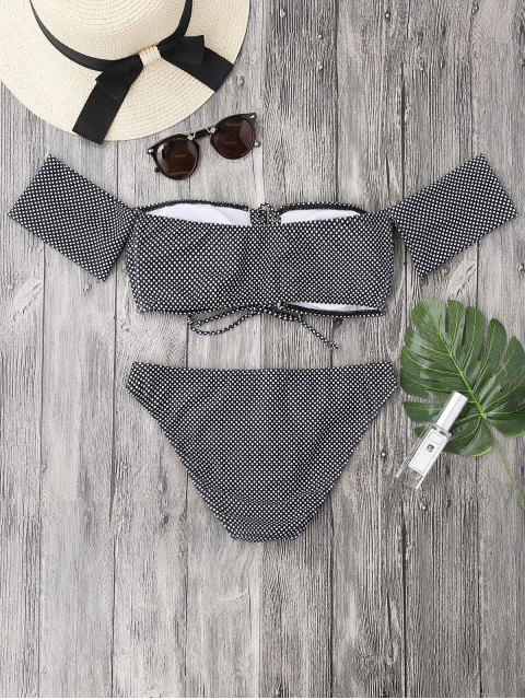 womens Dotted Lacing Off The Shoulder Bikini Set - WHITE AND BLACK S Mobile