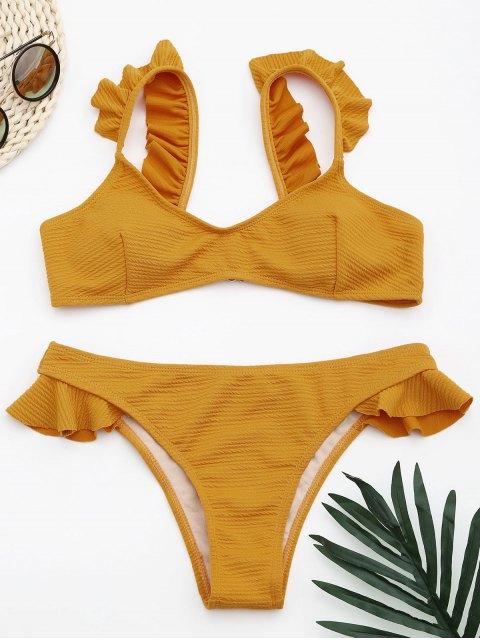Geripptes texturisches Rüschen Bikini Set - Ingwer-Gelb M Mobile