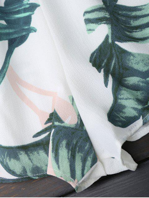 best Padded Leaf Print Bandeau Romper - WHITE M Mobile
