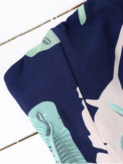 Padded Leaf Print Bandeau Romper - Bleu Violet M Mobile