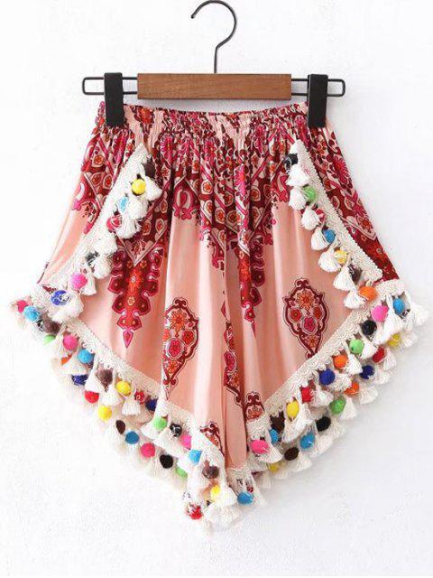shop Pom Pom Beach Cover Up Shorts - MULTICOLOR S Mobile