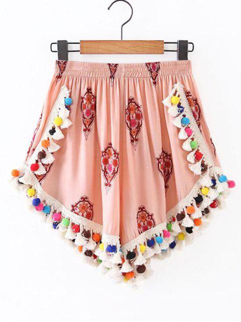 trendy High Rise Pom Pom Beach Cover Up Shorts - CANDY CORAL S Mobile
