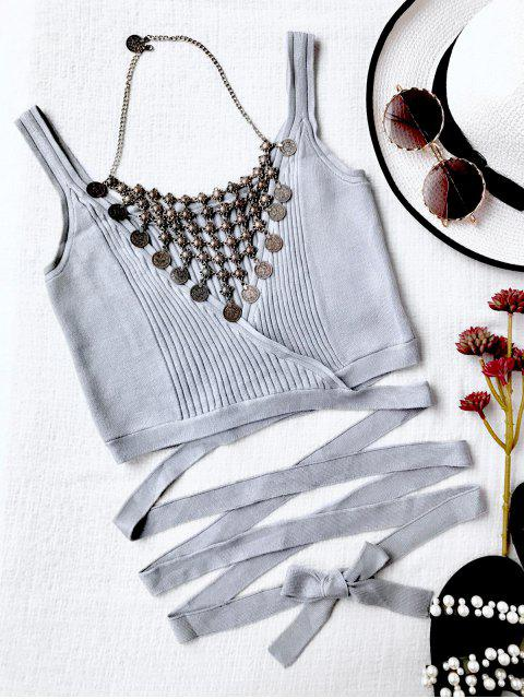 unique Ribbed Beach Cover Up Crop Wrap Top - GRAY L Mobile