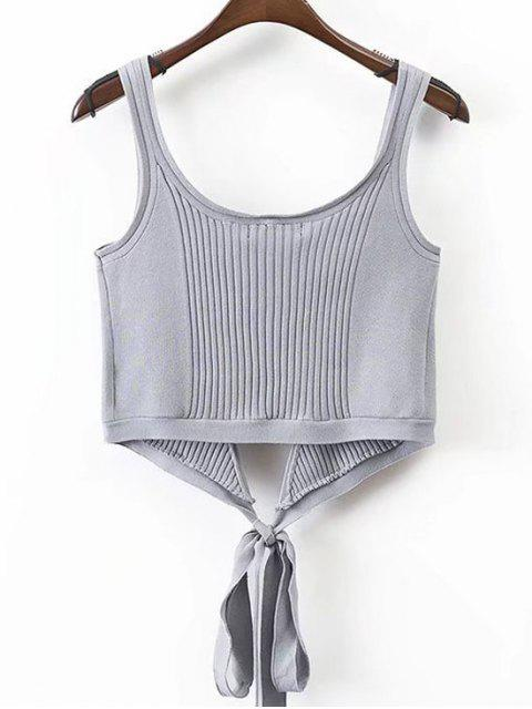 affordable Ribbed Beach Cover Up Crop Wrap Top - GRAY S Mobile