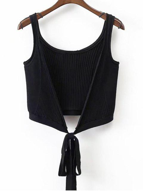 Ribbed Beach Cover Up Crop Wrap Top - Negro M Mobile