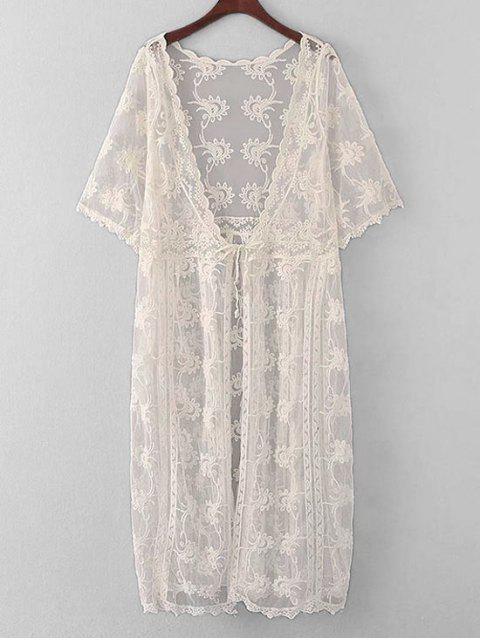 Cover Up Kimono en dentelle transparente brodé - Blanc Cassé TAILLE MOYENNE Mobile