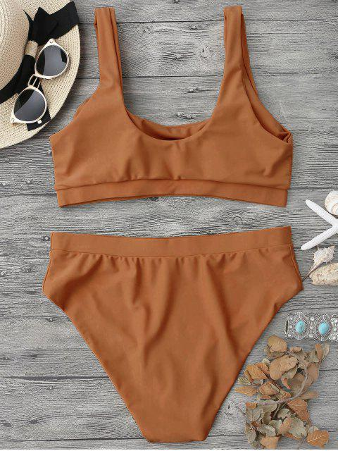 sale Midi Bralette Scoop Bikini Set - BROWN M Mobile