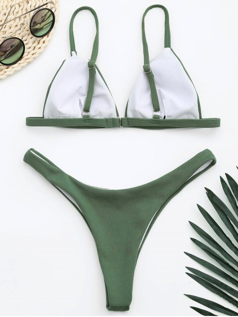 affordable Ribbed Texture High Cut Thong Bikini - ARMY GREEN L Mobile