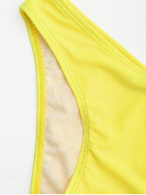 women's Overlay Off Shoulder Bikini - YELLOW M Mobile