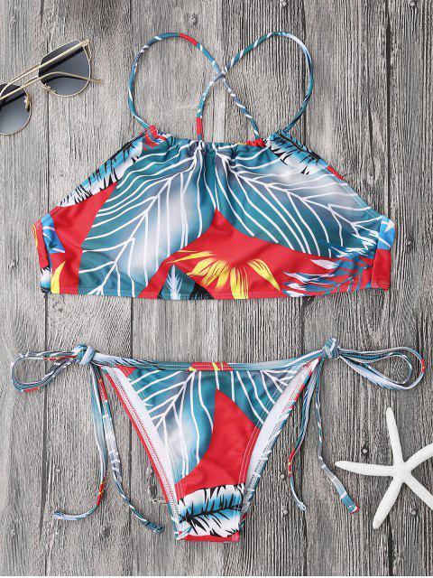 Ensemble de Bikini à col haut à lacets imprimé de palmier - Bleu et Rouge S Mobile