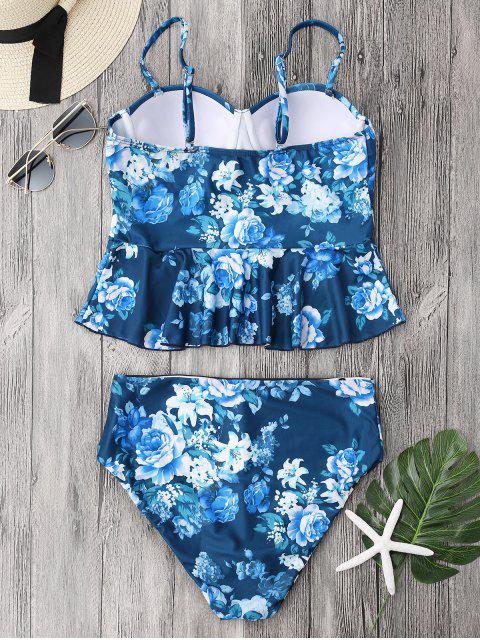 women Cupped Tankini Top and High Rise Bottoms - BLUE M Mobile