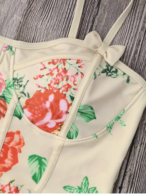 Shaping Floral Print One Piece Swimsuit - Palomino L Mobile
