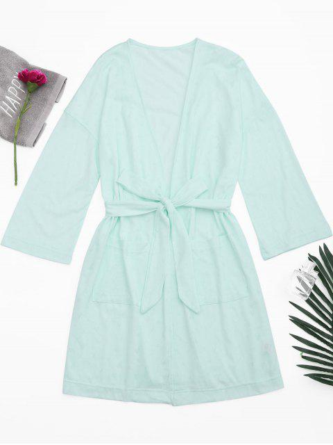 fashion Kimono Belted Pockets Night Robe - LIGHT GREEN S Mobile