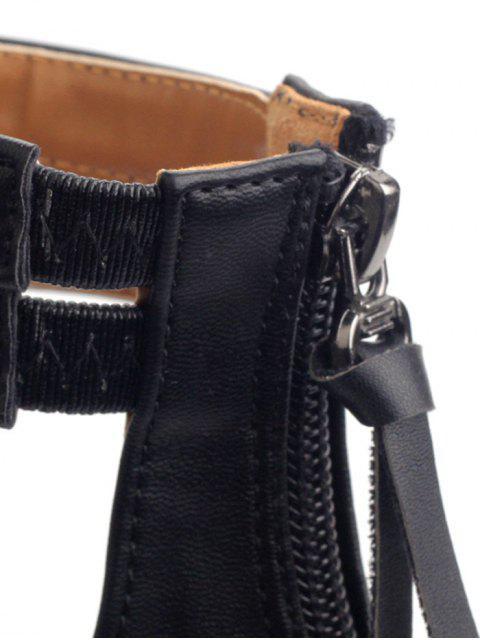 sale Faux Leather Elastic Zipper Sandals - BLACK 39 Mobile