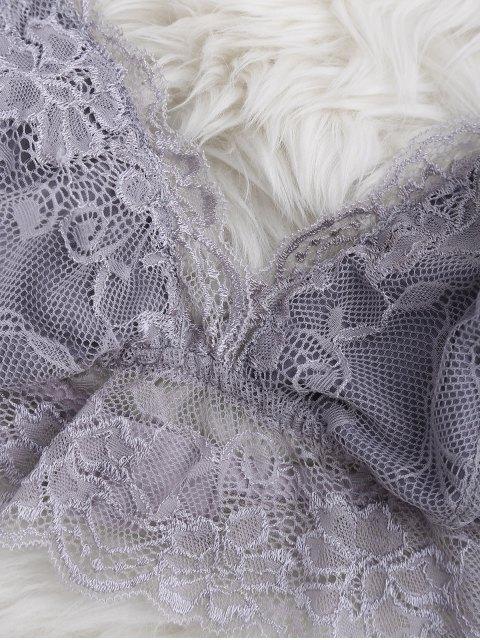 buy Longline Floral Lace Bralette Top - GRAY M Mobile