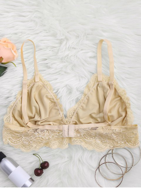 shop Longline Floral Lace Bralette Top - YELLOWISH PINK M Mobile