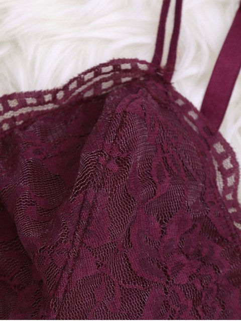 women's Strappy Floral Lace Bralette Top - BURGUNDY S Mobile