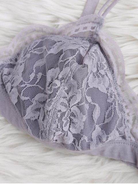 ladies Strappy Floral Lace Bralette Top - GRAY L Mobile