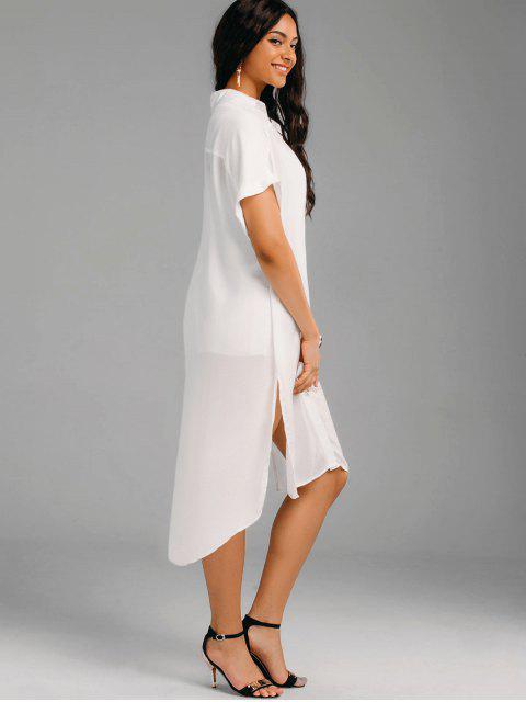 shops Oversized High Low Slit Shirt Dress - WHITE S Mobile