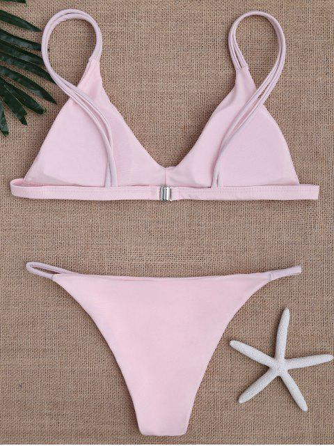 best Low Waisted Spaghetti Straps Bikini Swimwear - PINK XL Mobile