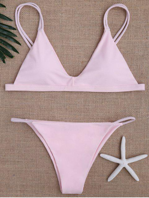 online Low Waisted Spaghetti Straps Bikini Swimwear - PINK L Mobile