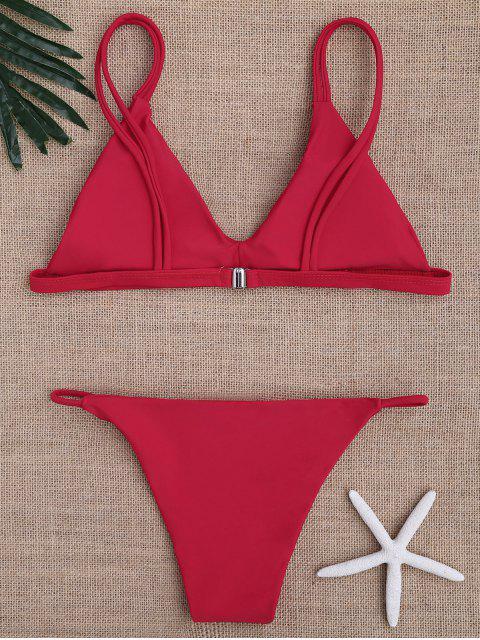 outfits Low Waisted Spaghetti Straps Bikini Swimwear - RED L Mobile