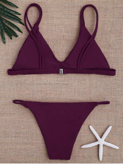 chic Low Waisted Spaghetti Straps Bikini Swimwear - PURPLISH RED S Mobile