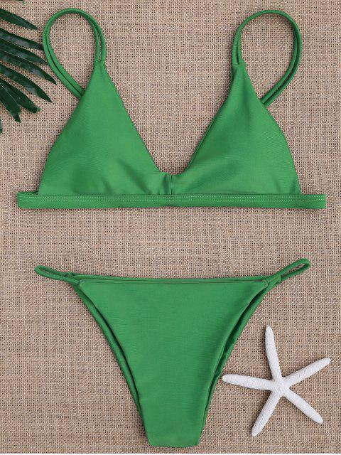 womens Low Waisted Spaghetti Straps Bikini Swimwear - GREEN L Mobile