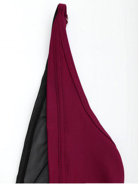women Mesh Panel High Cut Bikini Set - WINE RED S Mobile