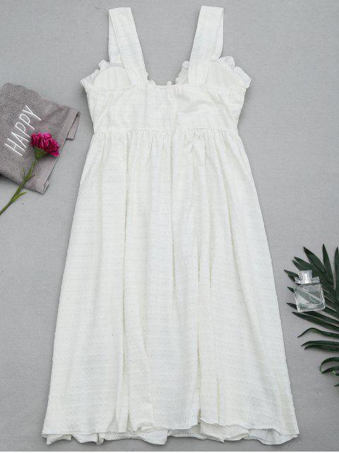 new Ruffles Straps Bowknot Padded Sleep Dress - WHITE L Mobile