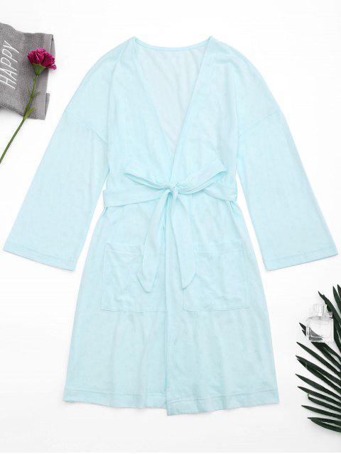 Robe de nuit kimono ceinturée avec poches - Bleu clair M Mobile