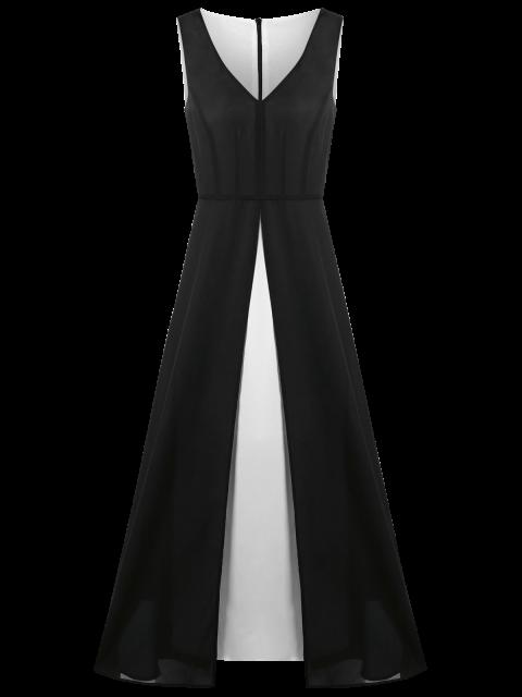 Robe maxi à mollet color block col V grande taille - Noir 4XL Mobile