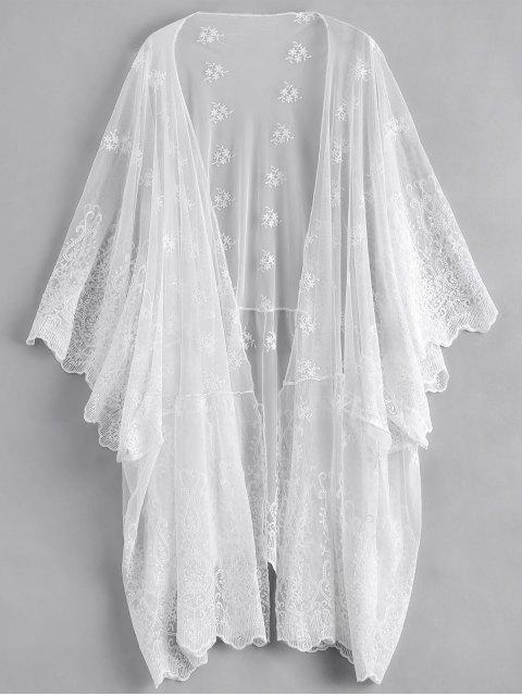 women Open Front Embroidered Sheer Poncho Cover Up - WHITE ONE SIZE Mobile