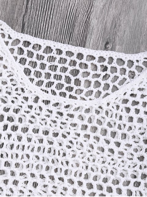 Crochet Fishnet Beach Cover Up Crop Top - Blanc M Mobile