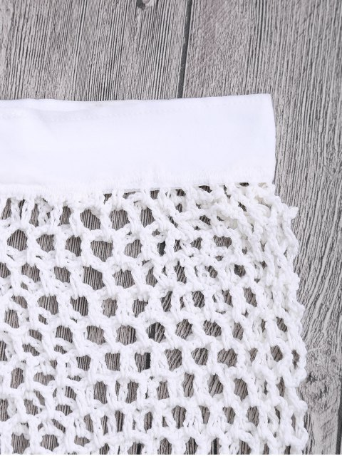 lady Crochet Fishnet Beach Cover Up Shorts - WHITE M Mobile