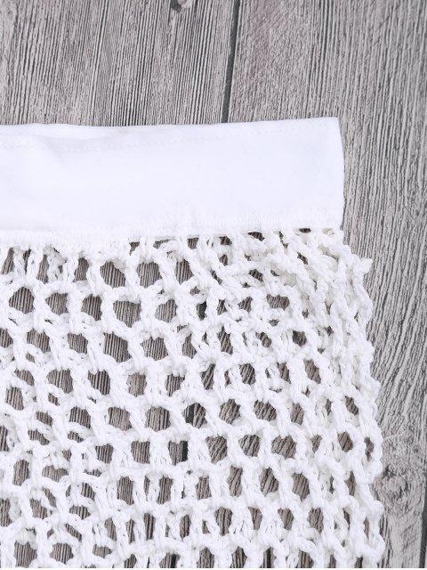 best Crochet Fishnet Beach Cover Up Shorts - WHITE S Mobile