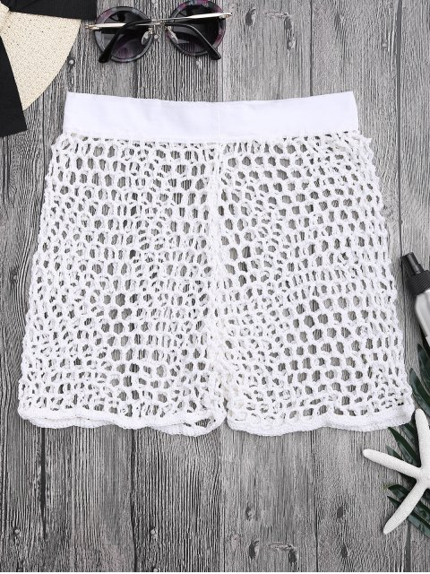 best Crochet Fishnet Beach Cover Up Shorts - WHITE S Mobile