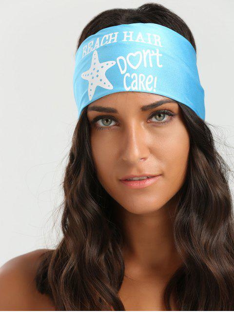 online Letters Starfish Pattern Elastic Hip-Pop Headband - AZURE  Mobile