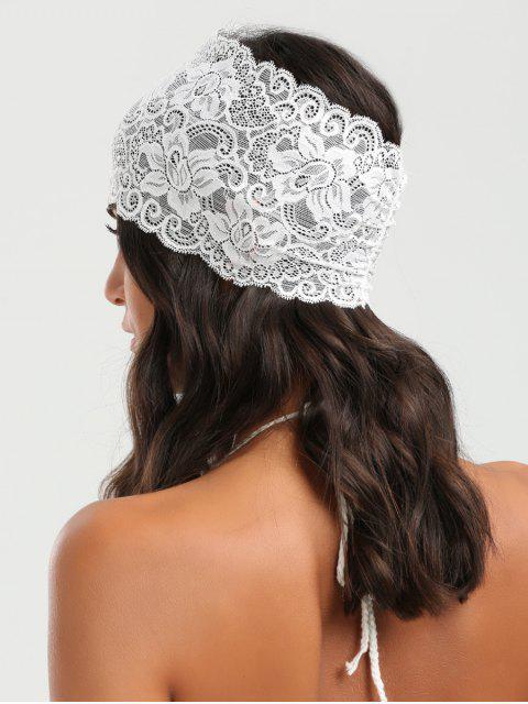 shops Elastic Lacework Wide Sport Headband - WHITE  Mobile