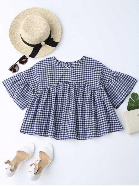 trendy Drop Shoulder Checked Blouse - CHECKED M Mobile