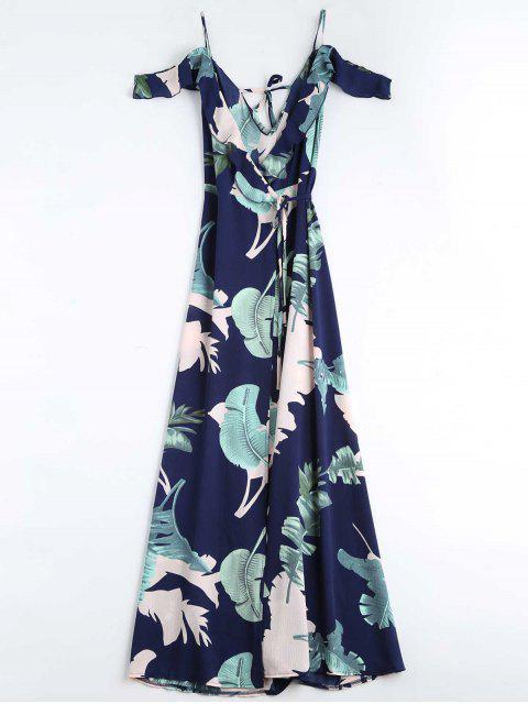 buy Leaves Print Cami Wrap Dress - PURPLISH BLUE L Mobile