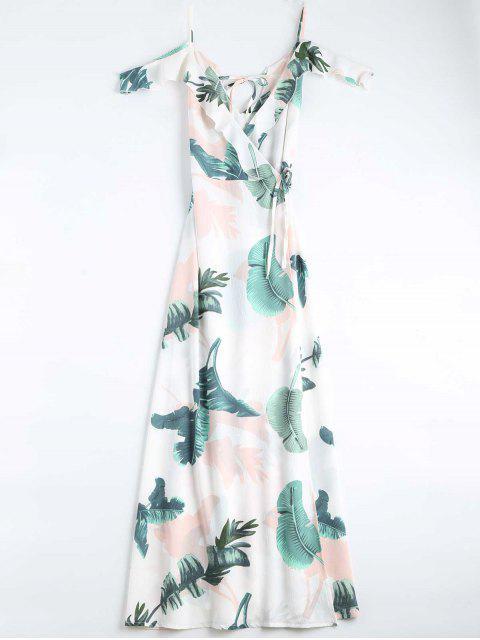 Blätter Druck Cami gewicktes Kleid - Weiß S Mobile