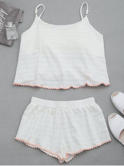 Loungewear Pom gepolsterte Cami Top mit Shorts - Weiß L Mobile