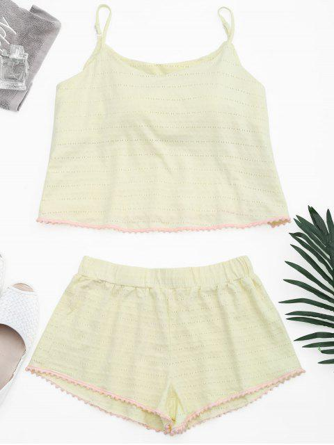 chic Loungewear Pom Padded Cami Top with Shorts - LIGHT YELLOW S Mobile
